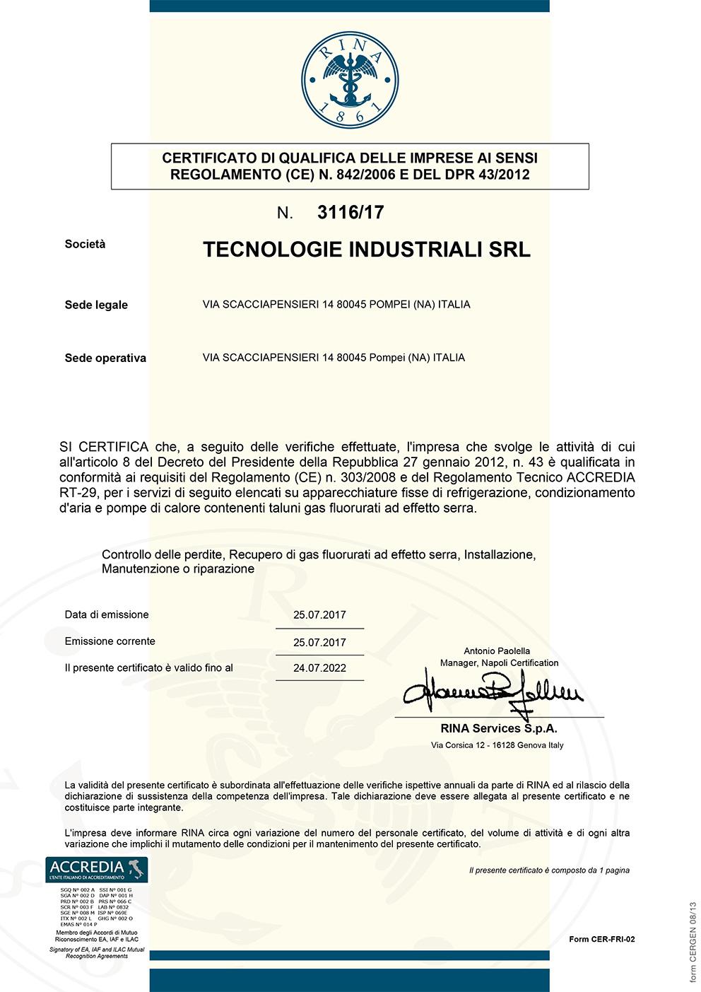 Rina Regolamento303 Certificato