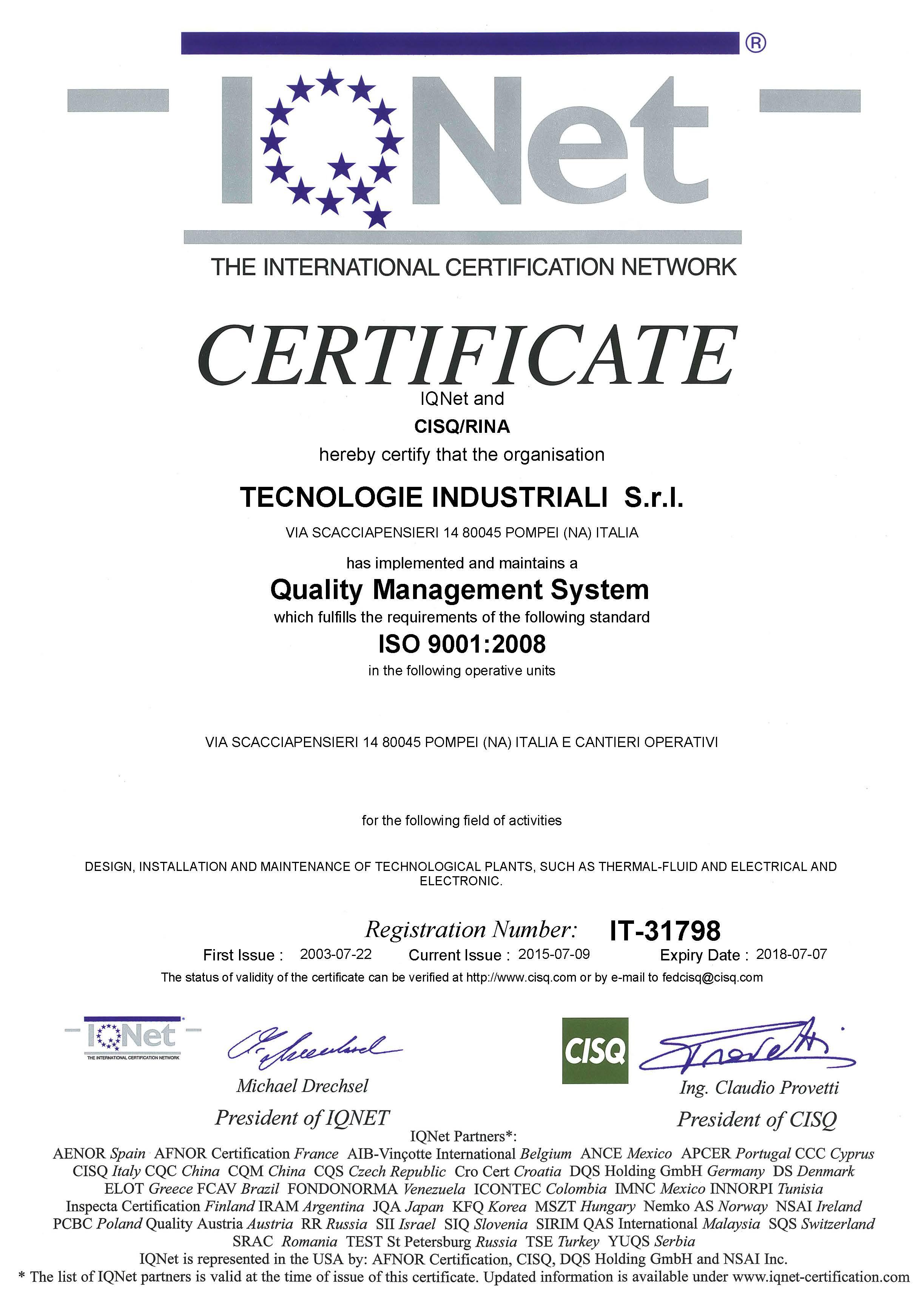 Certificato IQNET RINA